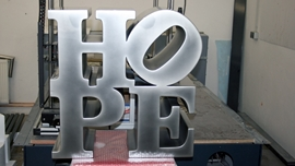 Polyurethane letters painted