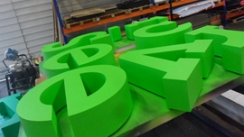 Styrofoam letters painted